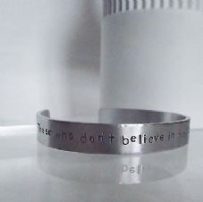 "Lovely Handmade Personalised ""....believe in magic""  Statement Cuff Bangle"